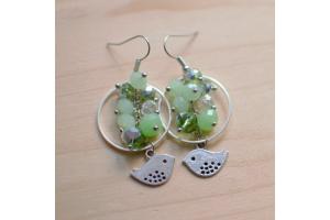 Tuto : Boucles d'oreilles oiseaux et perles vertes