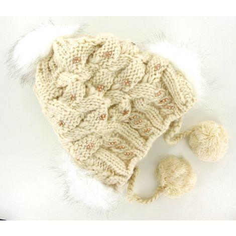 Bonnet blanc pompons