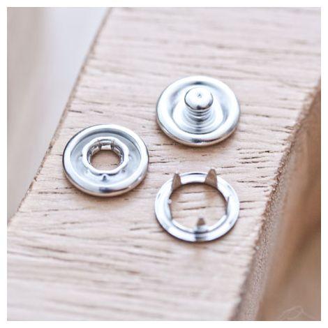 Bouton Pression 11mm Argent gris x 10
