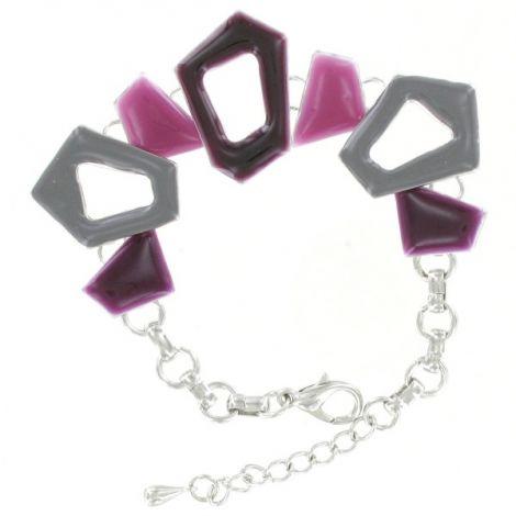 Bracelet métal argenté motifs colorés