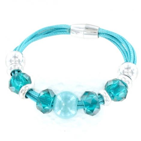 Bracelet perles turquoises et argentées