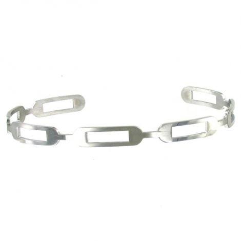 Bracelet jonc plat ajouré en métal argenté