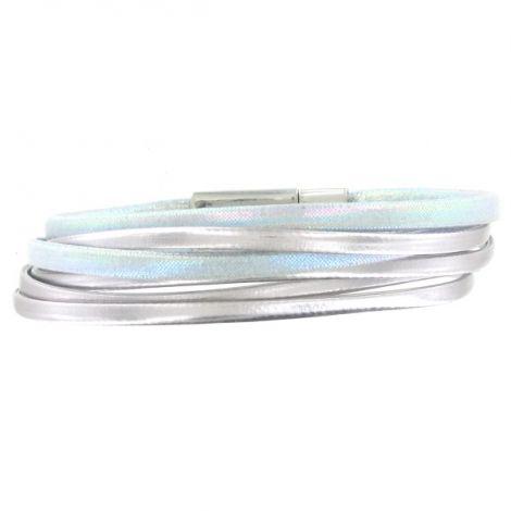 Bracelet multi-rangs argenté et bleu
