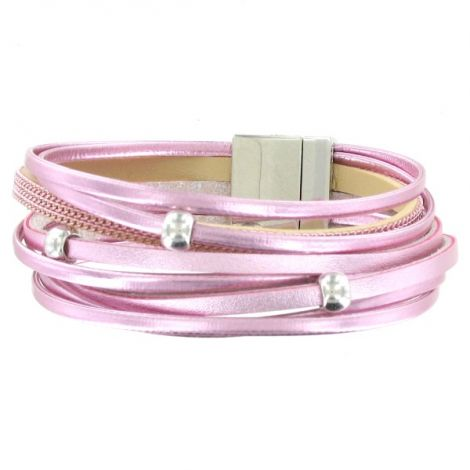 Bracelet multi-rangs rose brillant