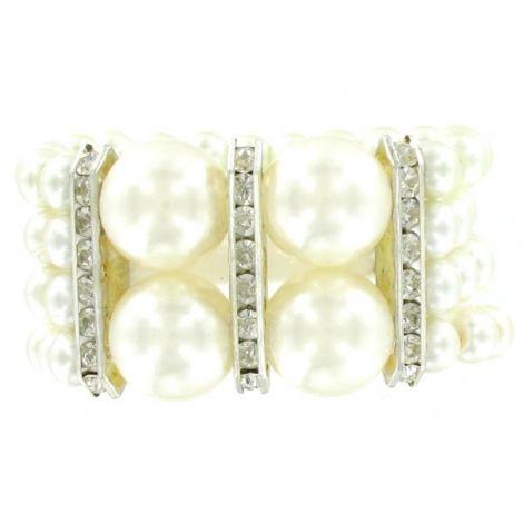 Bracelet 4 rangs de perles et strass