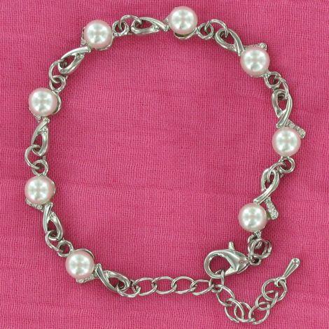 Bracelet perles et strass sur métal argenté
