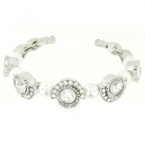 Bracelet semi rigide métal argenté perles