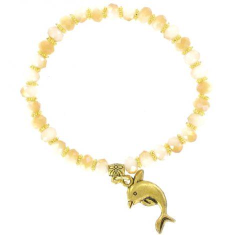 Bracelet élastique perles blanches et ambres