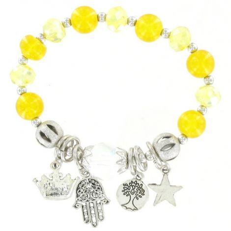 Bracelet élastique perles jaune et pendants