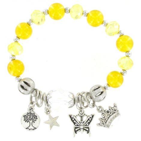 Bracelet élastique perles jaune et breloques