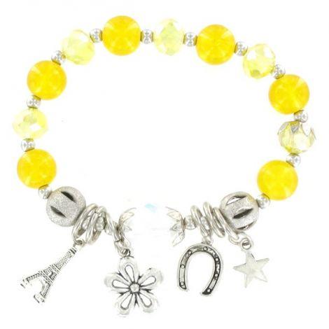 Bracelet élastique perles jaune