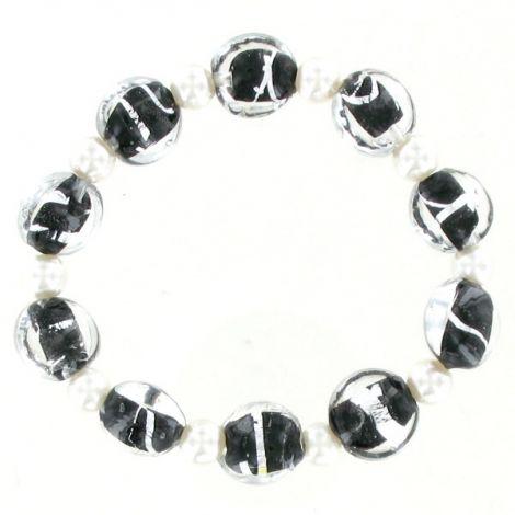Bracelet élastique perles de verre incrusté
