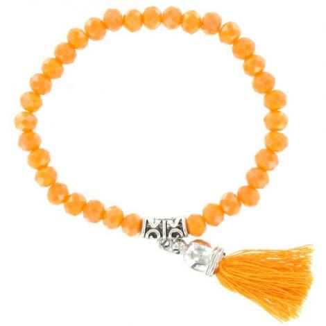 Bracelet perles facettées orange et pompon