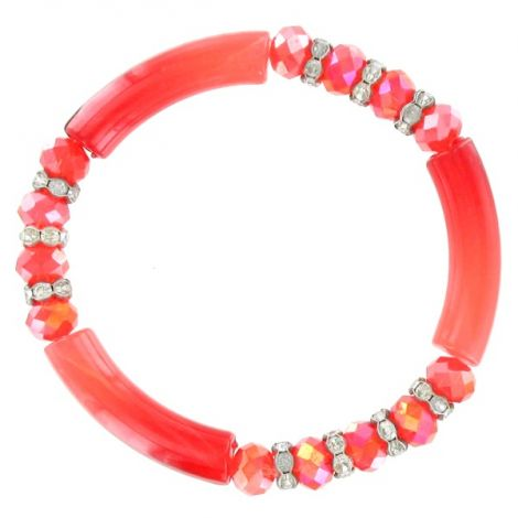 Bracelet élastique perles rouge orange