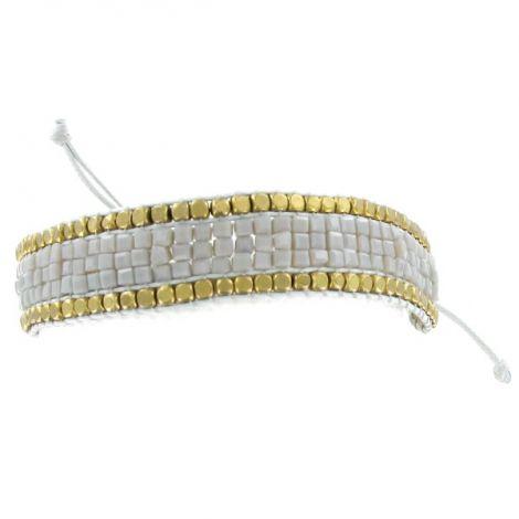 Bracelet perles tissées grises et bronze