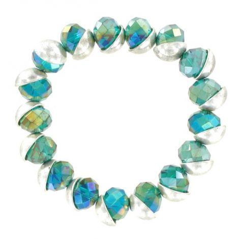 Bracelet élastique perles vertes séparateur argenté