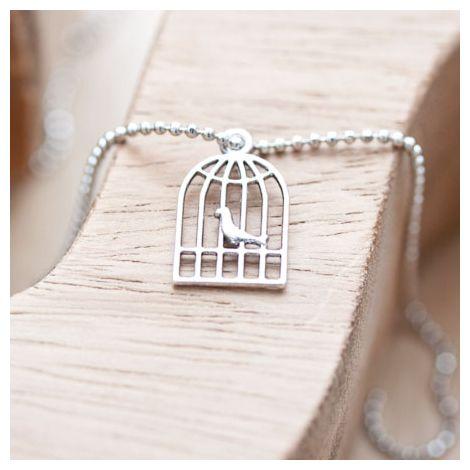 Breloque Cage à oiseaux plate Argent vieilli