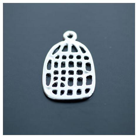 Breloque Cage à oiseaux Plate moyenne Argent gris x 1