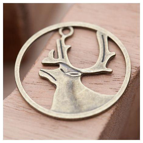 Breloque Cerf Encadré Bronze vieilli