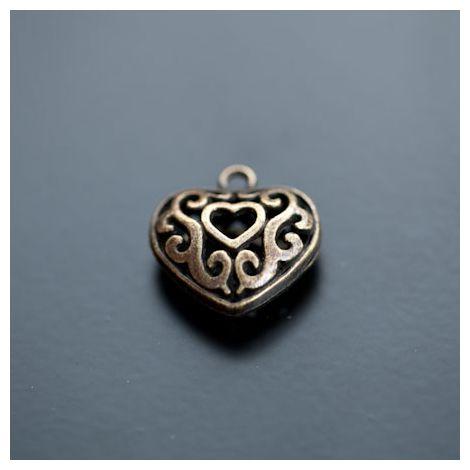 Breloque Coeur Filigrane 2cm Bronze vieilli