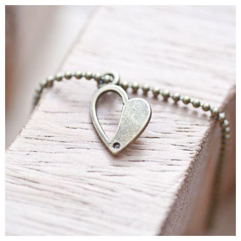 Breloque Coeur mi-plein Bronze vieilli