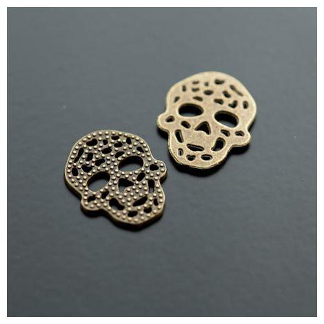 Breloque Connecteur Tête de mort - Skull plat filigrane Bronze vieilli