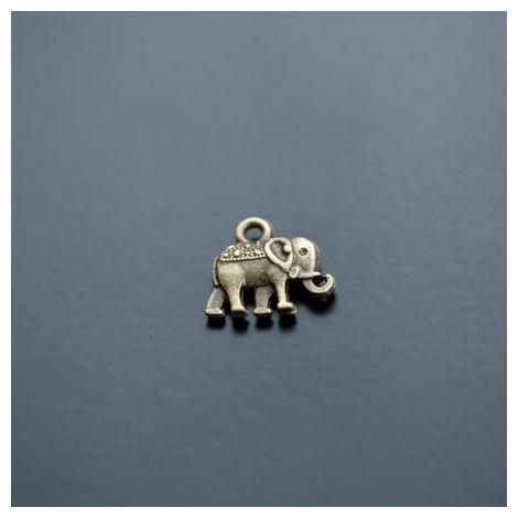Breloque Éléphant Indien Bronze vieilli