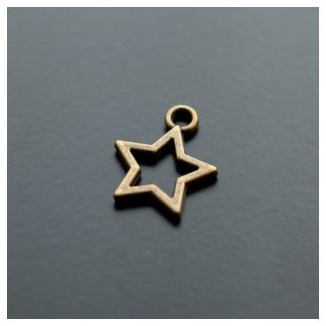 Breloque Étoile Fil 18mm Bronze vieilli