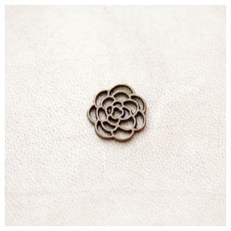 Breloque Fleur Rose 16mm Filigrane Bronze vieilli