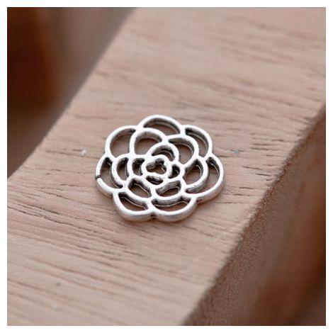 Breloque Fleur Rose Filigrane Argent vieilli