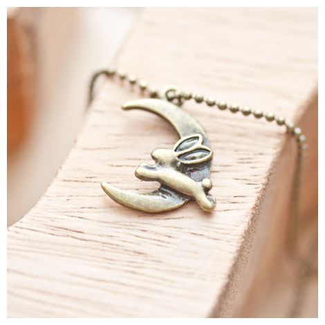 Breloque Lapin lune volant Bronze vieilli