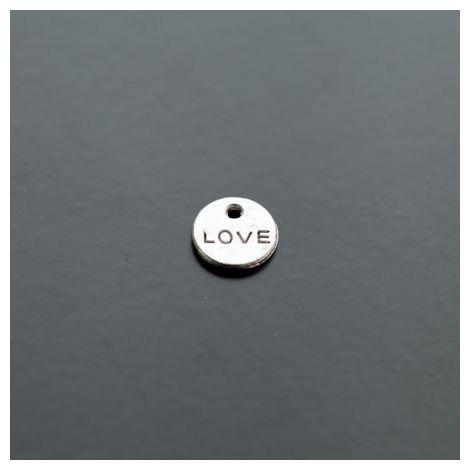 Breloque Mini Plaque Ronde LOVE Argent vieilli
