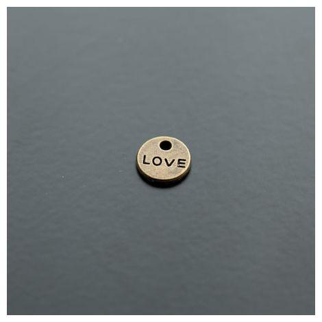 Breloque Mini Plaque Ronde LOVE Bronze vieilli