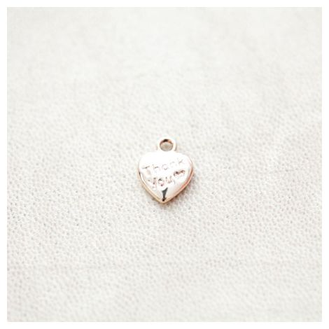 Breloque Petit Coeur Thank you 13x10mm Doré