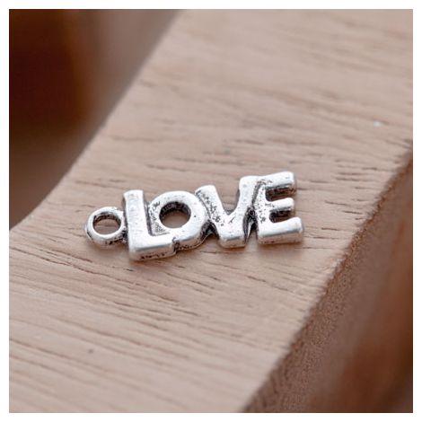 Breloque Petit Love épais Argent vieilli