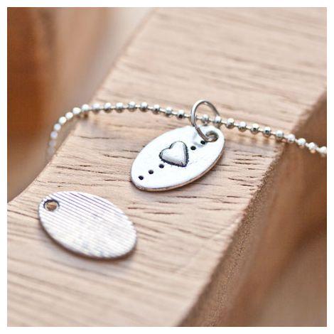 Breloque Petite plaque ovale Coeur Argent vieilli x 16