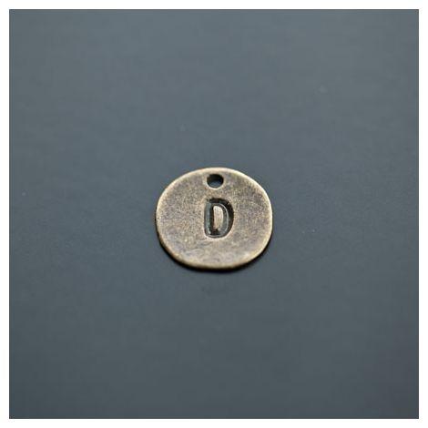 Breloque Plaque Lettre D Bronze vieilli x 8