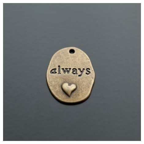 Breloque Plaque Ovale Coeur Always Bronze vieilli