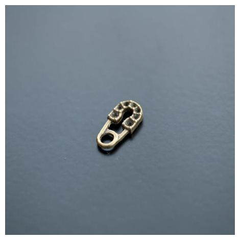 Breloque Strass Petite Epingle 14mm Bronze vieilli