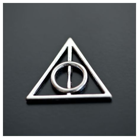 Breloque Symbole Harry Potter Argenté vieilli