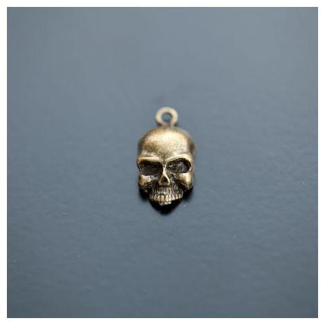 Breloque Tête de mort Skull Rebel Bronze vieilli