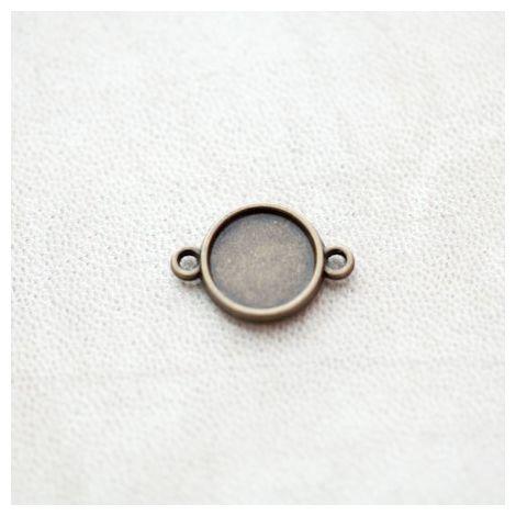 Connecteur à Cabochon Rond 12mm Bronze vieilli