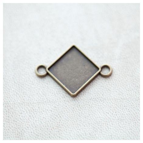 Connecteur à Cabochons Losange 15mm Bronze vieilli