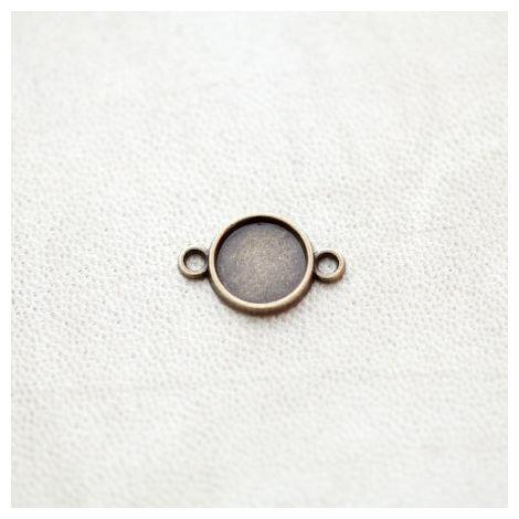 Connecteur à Cabochons Rond 10mm Bronze vieilli