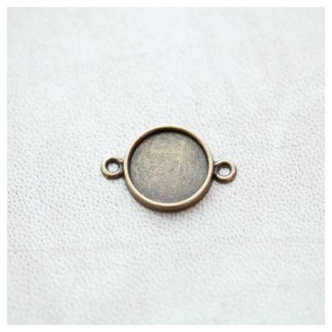 Connecteur à Cabochons Rond 14mm Bronze vieilli x 8pcs