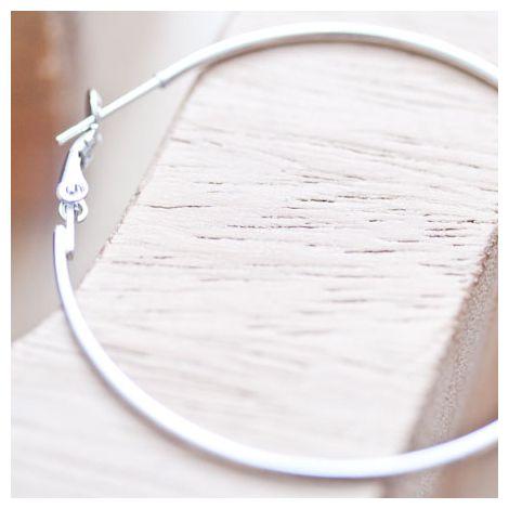 Crochet d'oreille Anneau 30mm Argent gris x 2