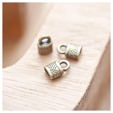 Embout à coller 10x6.5mm à motifs Bronze vieilli