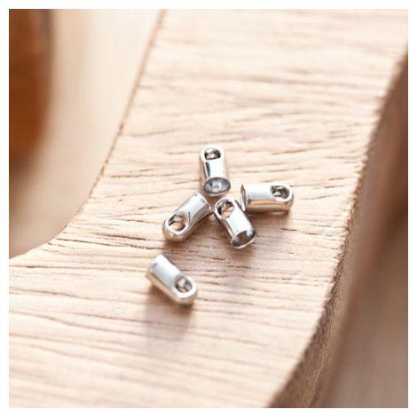 Embout pour cordon à coller 3.2mm Argent gris