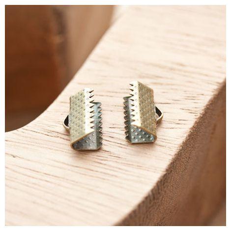 Embout pour tissu à pincer 13mm Bronze vieilli