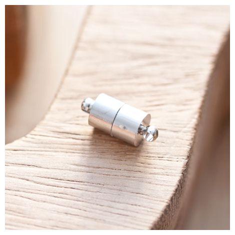 Fermoir magnétique Tube 7mm Argent gris